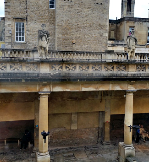 A square terrace looks down onto the main bath.At various points around the terrace stone railings, Victorian carved depictions of Roman governors and Emperors