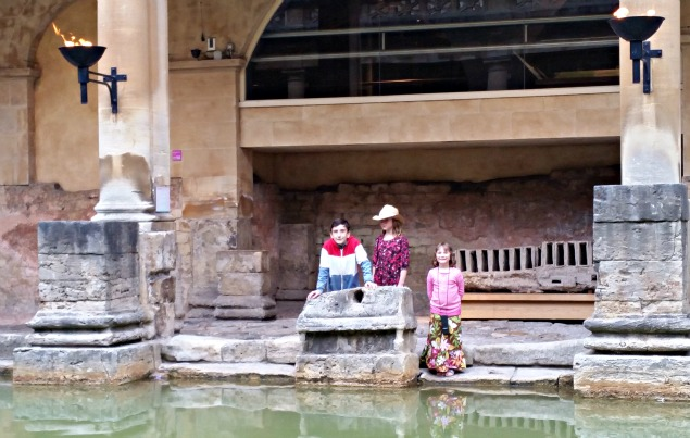 my 3 kids look out across the main baths