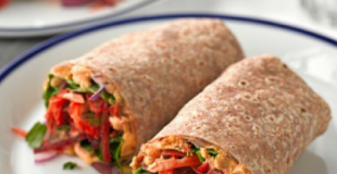 Heathy Harissa Hummus Vegetarian Flatbread Wrap