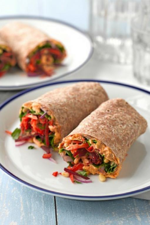 Healthy Harissa Hummus Vegetarian Flatbread Wrap