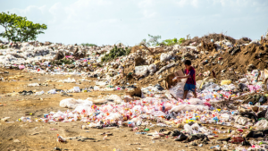 A landfill site shows household waste