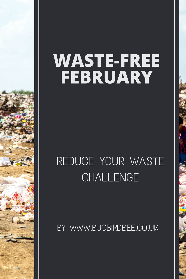 A landfill site with a text overlay-Waste Free February waste free challenge